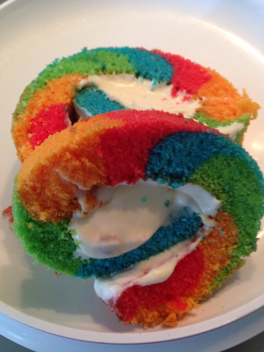 Rainbow Passionfruit Swiss Roll Cake
