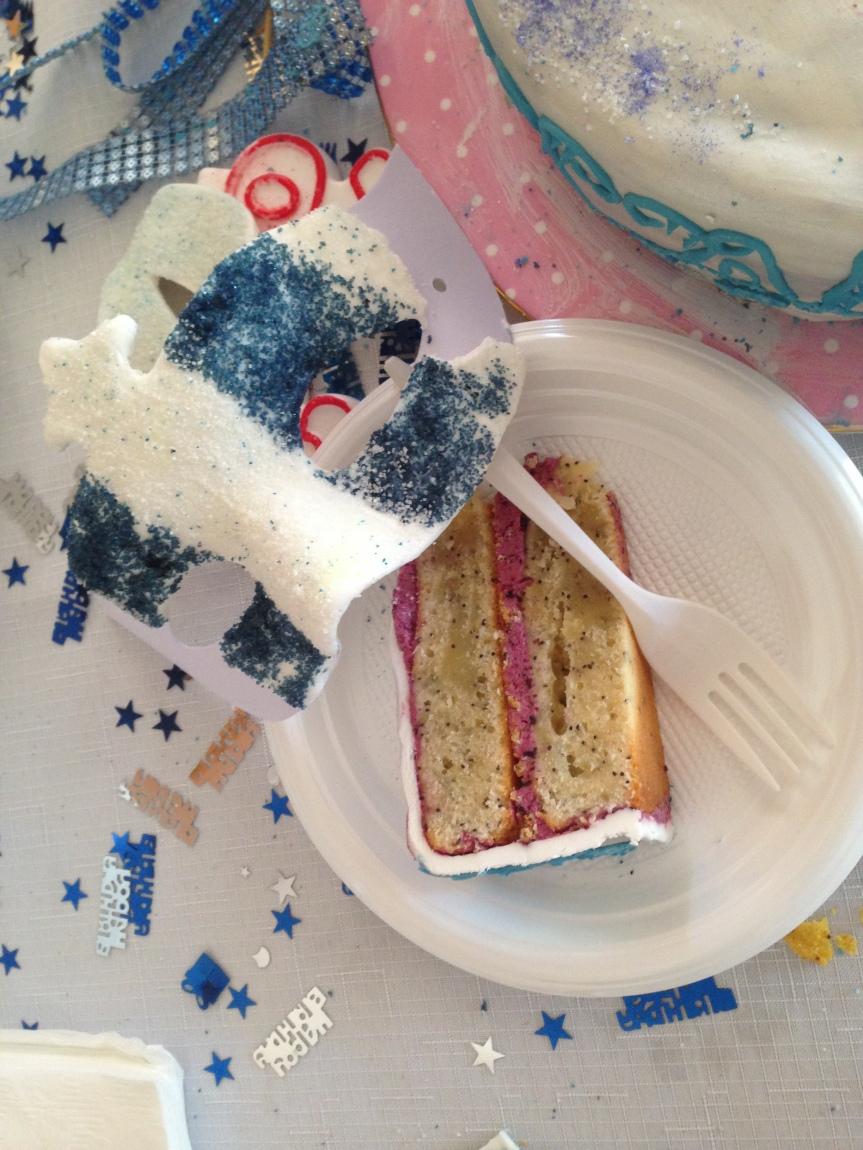 Lemon Poppyseed Cake with BlueberryButtercream